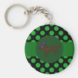 Chocolate Labrador Retriever Witch with Green Dots Basic Round Button Key Ring