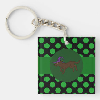 Chocolate Labrador Retriever Witch with Green Dots Single-Sided Square Acrylic Key Ring