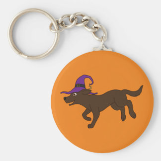 Chocolate Labrador Retriever with Witch Hat Basic Round Button Key Ring