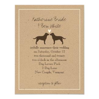 Chocolate Labrador Retrievers Wedding Invitation
