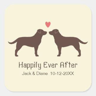 Chocolate Labrador Retrievers with Heart and Text Square Sticker