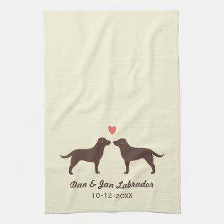 Chocolate Labrador Retrievers with Heart and Text Tea Towel