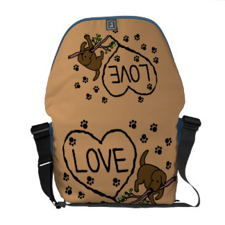 Chocolate Labrador Sand Letters Cartoon Messenger Bags