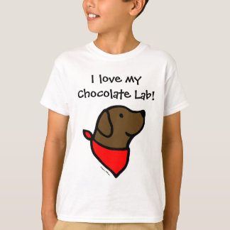 Chocolate Labrador & Scarf Cartoon T-Shirt