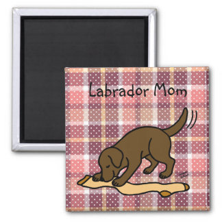Chocolate Labrador Stocking Square Magnet