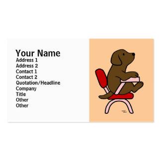 Chocolate Labrador Student 1 Cartoon Business Card Templates