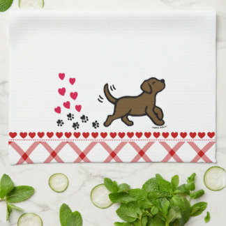 Chocolate Labrador Trotting Kitchen Towel
