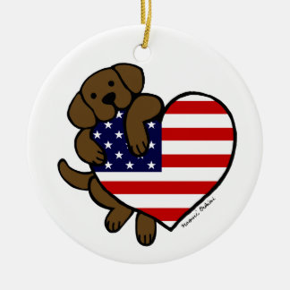 Chocolate Labrador & US Flag Heart 2 Cartoon Christmas Ornament