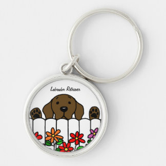 Chocolate Labrador watching you Keychains