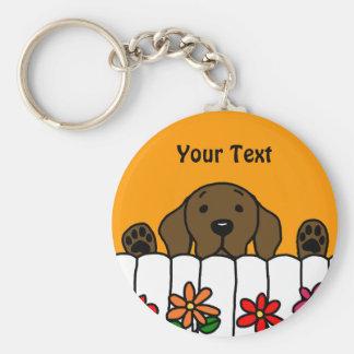 Chocolate Labrador watching you Key Chains