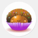 Chocolate Ladybug Cupcake Sticker