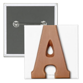 Chocolate letter a 15 cm square badge