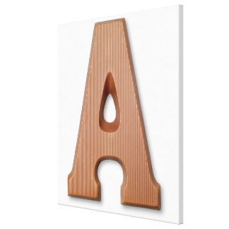 Chocolate letter a stretched canvas print