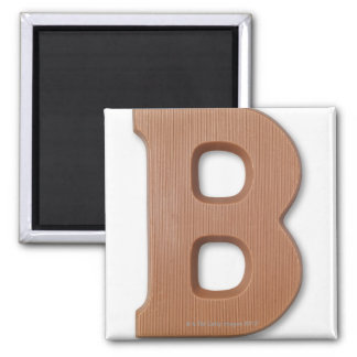 Chocolate letter b square magnet