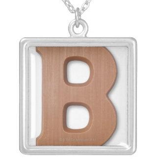 Chocolate letter b square pendant necklace