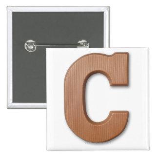 Chocolate letter c 15 cm square badge