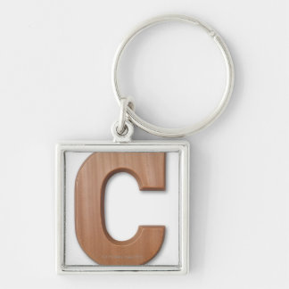 Chocolate letter c Silver-Colored square key ring