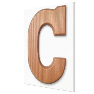 Chocolate letter c stretched canvas print