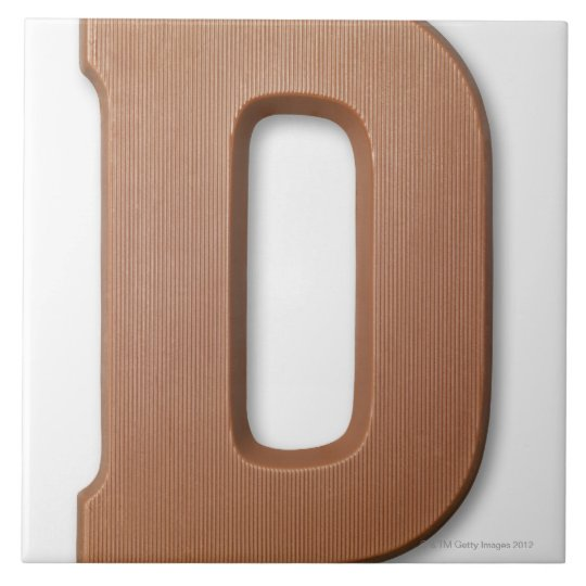 Chocolate letter d large square tile