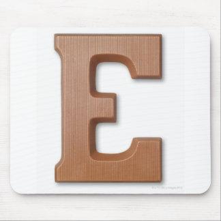 Chocolate letter e mouse mat