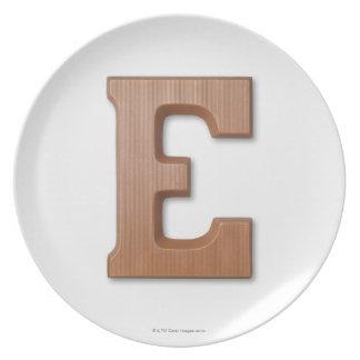 Chocolate letter e plates