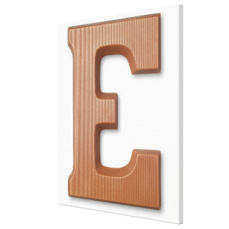 Chocolate letter e stretched canvas prints