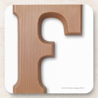 Chocolate letter f beverage coasters
