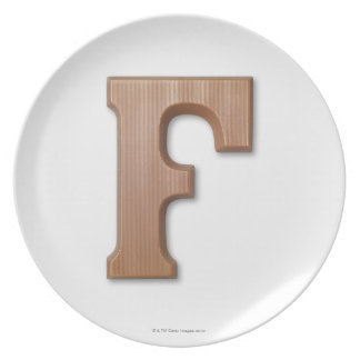 Chocolate letter f dinner plate