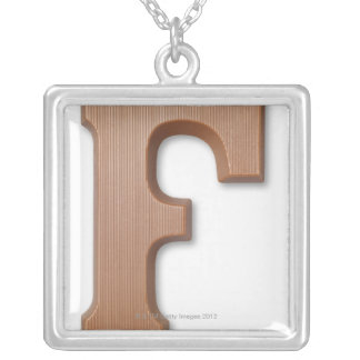 Chocolate letter f silver plated necklace