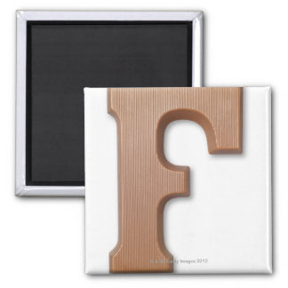 Chocolate letter f square magnet