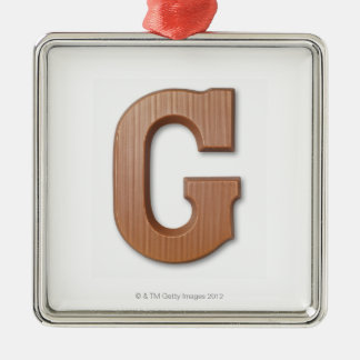 Chocolate letter g christmas ornament