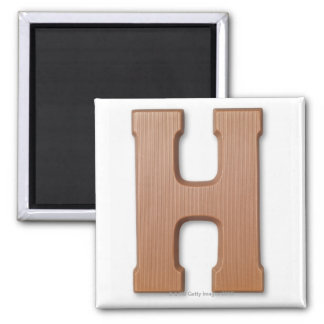 Chocolate letter h square magnet