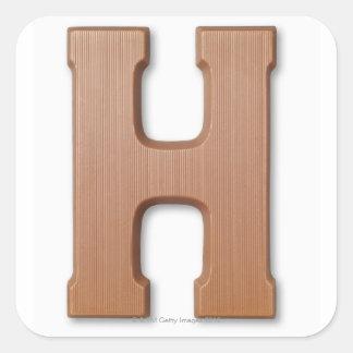 Chocolate letter h square sticker