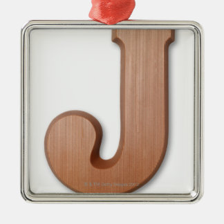 Chocolate letter j christmas ornament