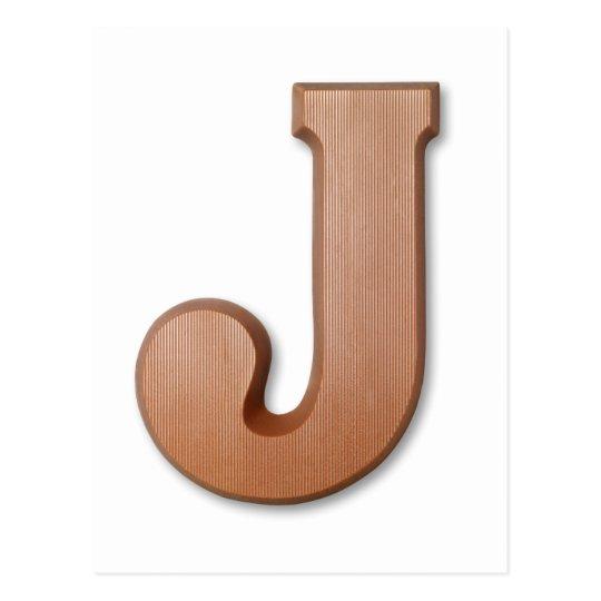 Chocolate letter J Postcard