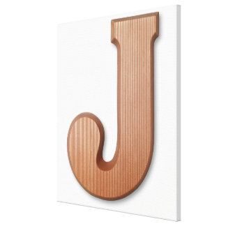 Chocolate letter j stretched canvas prints