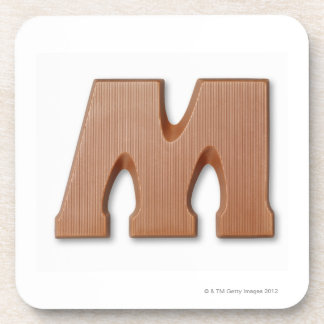 Chocolate letter m beverage coaster