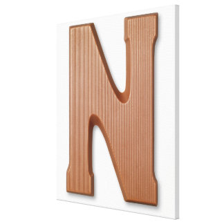 Chocolate letter n stretched canvas prints