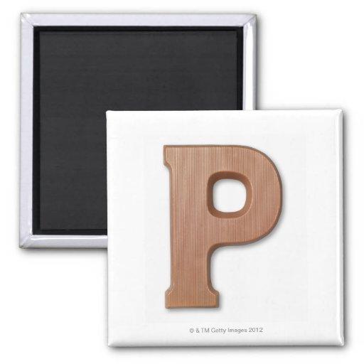 Chocolate letter p fridge magnet