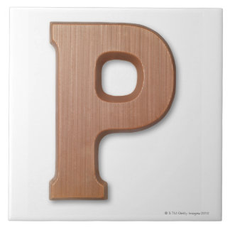 Chocolate letter p large square tile