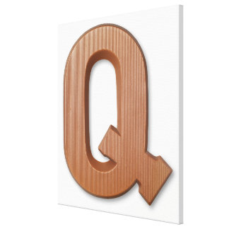 Chocolate letter q stretched canvas print