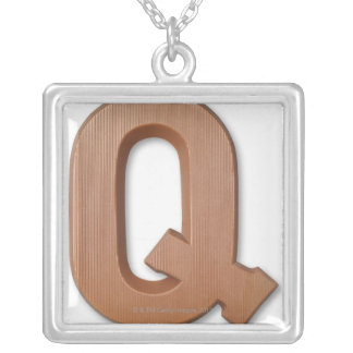 Chocolate letter q personalized necklace