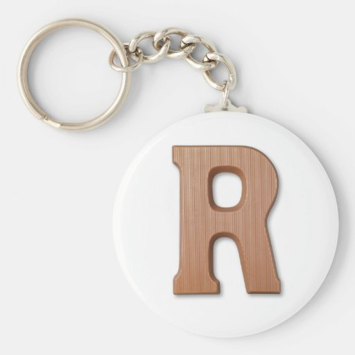 Chocolate letter R Basic Round Button Key Ring