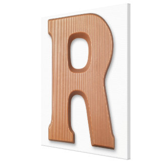 Chocolate letter r stretched canvas print