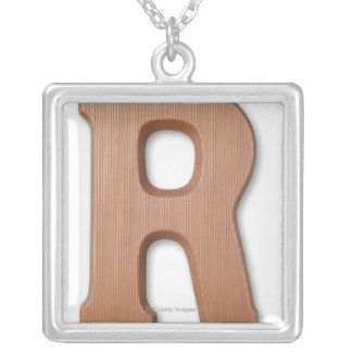 Chocolate letter r silver plated necklace