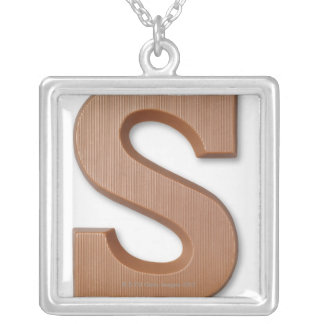 Chocolate letter s silver plated necklace