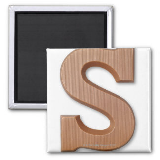 Chocolate letter s square magnet