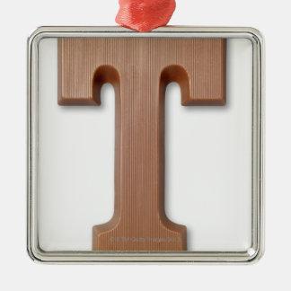 Chocolate letter t Silver-Colored square decoration