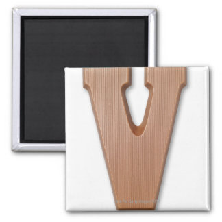 Chocolate letter v square magnet