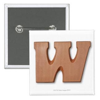 Chocolate letter w 15 cm square badge